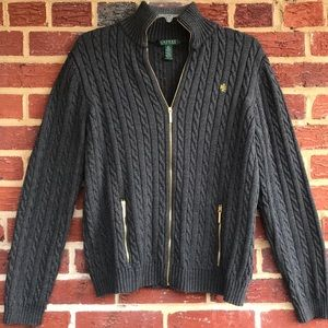 Lauren Ralph Lauren XL Full Zip Cotton Sweater